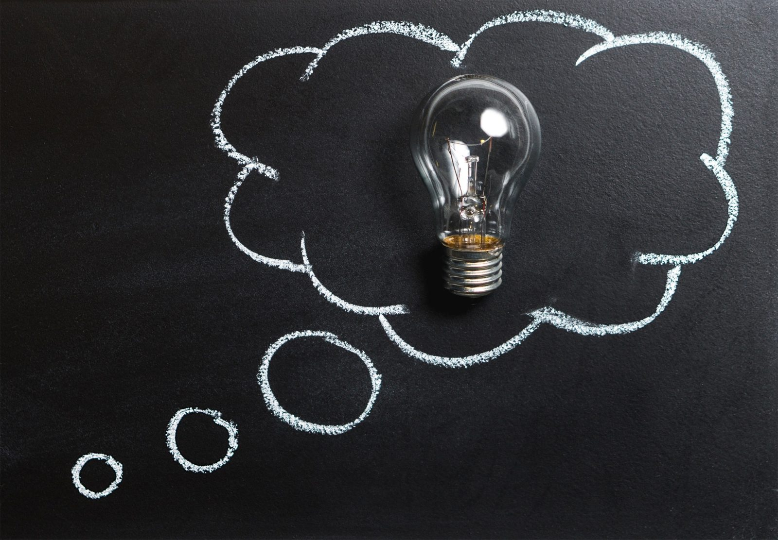 Lightbulb on Blackboard with Thought Bubble